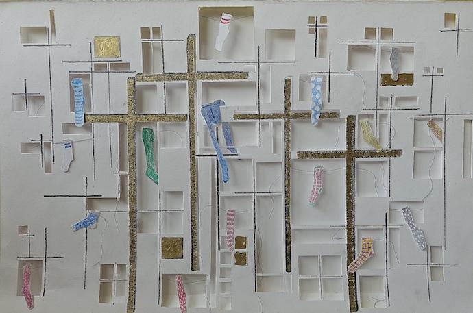 Huizen, kruisen en eenzame sokken - Lea Adriaans